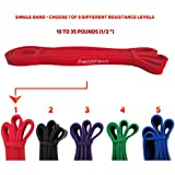 WODFitters Pull Up Assist Band, Stretch Resistance Band - Mobility Band - Powerlifting Bands - Extra Durable and Top Rated Pull-Up Assist Bands - Works with Any Pullup Station - with eGuide - SINGLE BAND