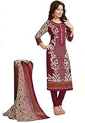 Salwar Studio Wine & Cream Lawn Pure Cotton Floral Printed Dress Material with Dupatta