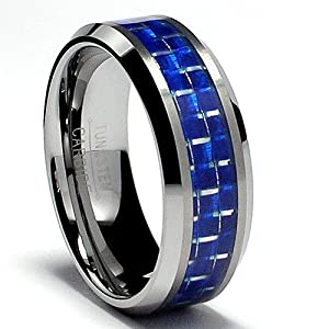 8MM Flat Top Tungsten Carbide Ring Wedding Band W/ Blue Carbon Fiber Inlay Size 13