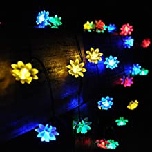E-Light 164Ft 20 LED Double Lotus Solar Powered Outdoor String Lights for Outside Garden Patio Party