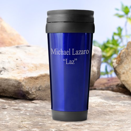 Personalized On-The-Go Travel Tumbler - Blue