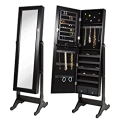 Black Jewelry Armoire Cabinet with Standing Mirror