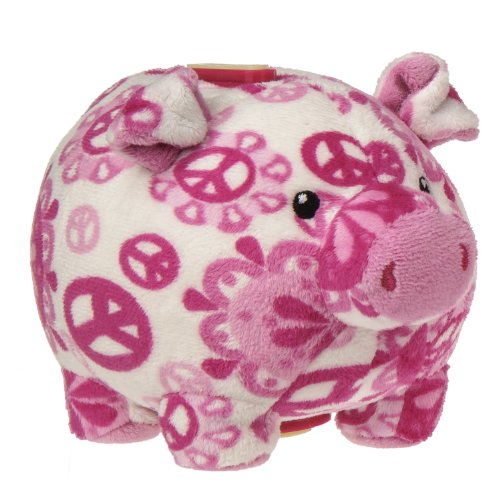 "Mary Meyer Print Pizzazz Piggy Bank, 6"", Peaceful Pink front-986821"