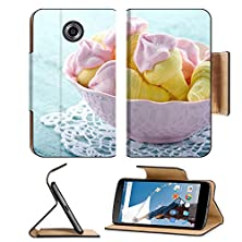 buy Msd Motorola Google Nexus 6 Flip Pu Leather Wallet Case Sugary Pink Marshmallows Shaped Like Ice Cream In Bowl On Blue Vintage Wooden Image 19264325