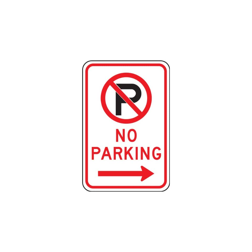 Accuform Signs FRP119RA Engineer Grade Reflective Aluminum Parking Sign, Legend NO PARKING (ARROW RIGHT) with Graphic, 18 Length x 12 Width x 0.080 Thickness, Red/Black on White