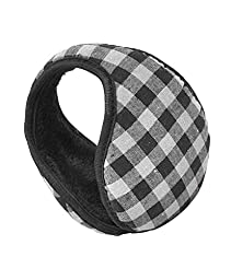 Extra Warm Multi-color Plaid Pattern Ear Warmers (Black)