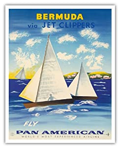 Bermuda via Jet Clippers - Fly Pan American Airlines (PAA) - Sailboats in Somers Isles - Vintage Airline Travel Poster c.1950s - Fine Art Print - 16in x 20in