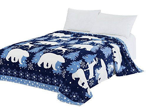 CaliTime Brand Super Soft Throw Blanket, Blue White Polar Bear Reindeer, Queen