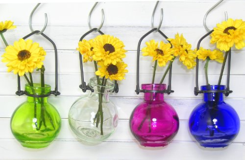 Colored Glass Hanging Flower Wall Vases #1 - Lot of 4 ~ Colored Glass Bottle ~ Floral Vase ~ Colored Vase