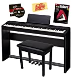 Casio Privia PX-150 88-Key Digital Piano Bundle with Casio SP-67 Furniture-Style Stand, Casio SP-33 3-Pedal System, Gearlux Padded Piano Bench, Hal Leonard Instructional Book, and Austin Bazaar Polishing Cloth - Black