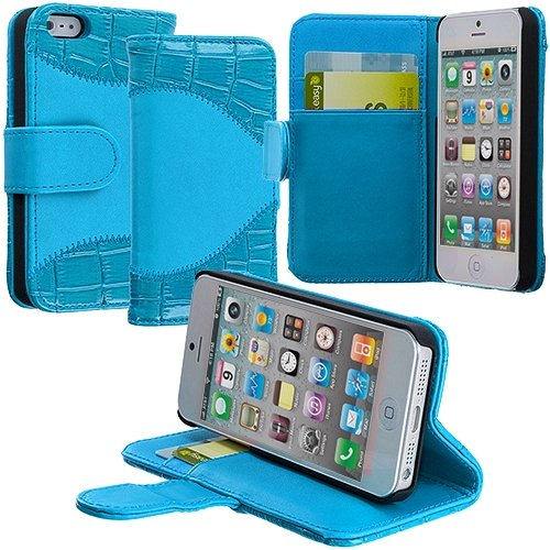 Cell Accessories For Less (Tm) Baby Blue Crocodile Leather Wallet Pouch Case Cover With Slots For Apple Iphone 5 / 5S + Bundle (Stylus & Micro Cleaning Cloth) - By Thetargetbuys front-959068