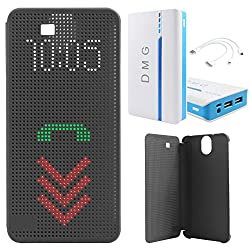 DMG Dot View Interactive Flip Cover Case for HTC One E9 Plus (Black) + DMG 15000 mAh Portable Power Bank