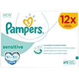 Pampers 12 Paquets de 56 Lingettes Sensitive (672 Lingettes)