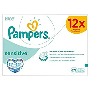 Pampers Sensitive Refill Pack Giga 12 x Packs of 56 (672 Wipes)