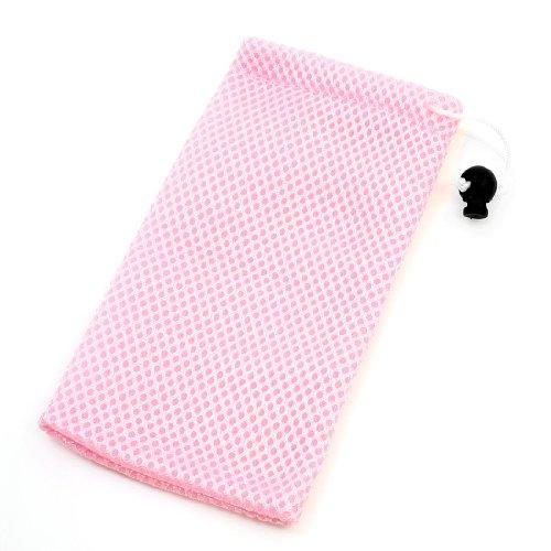 Pink Drawstring Closure Nylon Mesh Glasses Phone Pouch Case 182x95mm