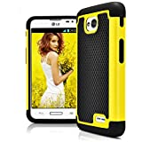 LG L70 Case, LG Optimus Exceed 2 Case, MagicMobile® [Dual Armor Series] Hybrid Impact Resistant LG L70 Shockproof Tough Case Hard Plastic Silicone Protective Cover for LG Optimus Realm [Black/Yellow]