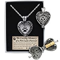 Cathedral Art Pet Memorial Urn Locket-heart Shaped-silver Tone Filigree