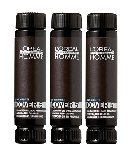 Loreal LP Homme Cover 5` Colorazione No 3 Marrone scuro 3 x 50 ml Colorationsgel senza ammoniaca