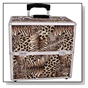 Animal Print Rolling Makeup Case with Removable Handle and Dividers Color: Leopard
