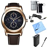 LG Watch Urbane Android Smartwatch (Gold) Essentials Bundle includes Urbane Android Smartwatch, Ear Buds, Stylus, Pouch 2-Pack, Wall Charger and Microfiber Cloth