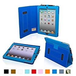 Snugg iPad 2 Case - Leather Case Cover and Flip Stand with Elastic Hand Strap and Premium Nubuck Fibre Interior (Electric Blue) - Automatically Wakes and Puts the iPad 2 to Sleep. Superior Quality Design as Featured in GQ Magazine