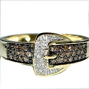 Sterling Silver Diamond Belt Buckle Ring