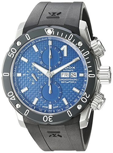 Edox-Mens-Chronoffshore-1-Swiss-Automatic-Stainless-Steel-and-Rubber-Diving-Watch-ColorBlack-Model-01122-3-BUIN
