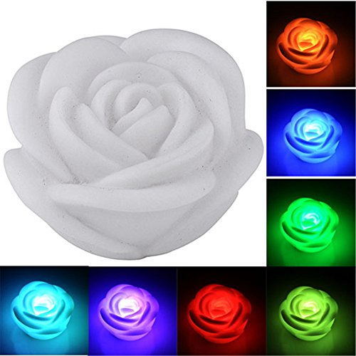 Smartbargain 7 Color Romantic Changing Led Rose Flower Candle Night Light 2Pcs