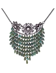 Jewels Couture Green Beads & Black Metal Necklace For Women