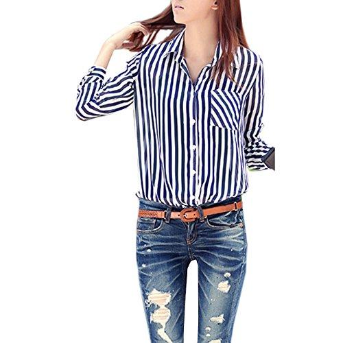 Zeagoo Damen Lange Streifen Klassiker Kragen Chiffon Bluse Tops Hemd Shirts