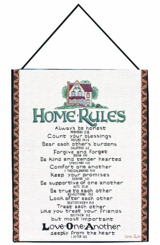 Manual Inspirational Collection Wall Hanging With Frame, Home Rules With Verses X Carol Taylor, 13 X 18-Inch front-965610