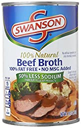Swanson 50% Less Sodium Broth, Beef, 14.5 Ounce (Pack of 24)
