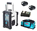 Makita 18V LXT BMR100W BMR100Wz BMR100Wrfe Job Site Radio, 2 X BL1830 Batteries, DC18RC Charger And DK18027 Bag