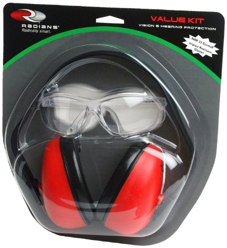 Radians Value Kit With Def-Guard Earmuff And A Pair Of Clear Titan Shooting Glasses (Clear)