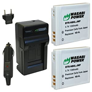 Wasabi Power Battery (2-Pack) and Charger for Canon NB-6L, CB-2LY and Canon PowerShot D10, D20, ELPH 500 HS, S90, S95, S120, SD770 IS, SD980 IS, SD1200 IS, SD1300 IS, SD3500 IS, SD4000 IS, SX170 IS, SX240 HS, SX260 HS, SX270 HS, SX280 HS, SX500 IS, SX510 HS, SX600 HS, SX700 HS