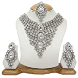 Indian Bridal Silver Tone CZ Necklace Set Women Party Wear Costume Jewellery