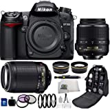 Nikon D7000 16.2MP CMOS Digital SLR Camera with Nikon 18-55mm VR Lens + Nikon 55-200mm VR Lens + .43x Wide Angle Lens, 2.2x Telephoto Lens, 3 Piece Filter Kit (UV,CPL, FLD), 4 Piece Macro Close-up Lens Set (+1+2+4+10), 16GB SD Memory Card, Backpack + MORE