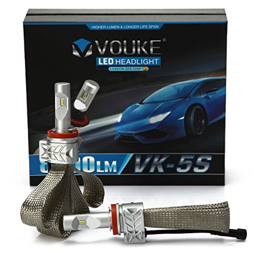 VK-5S H11 H8 H9 8000LM LED Headlight Conversion Kit, Low beam headlamp, Fog Driving Light, HID or Halogen Head light Replacement, 6500K Xenon White, 1 Pair (Honda Civic 2012 Led Headlights compare prices)
