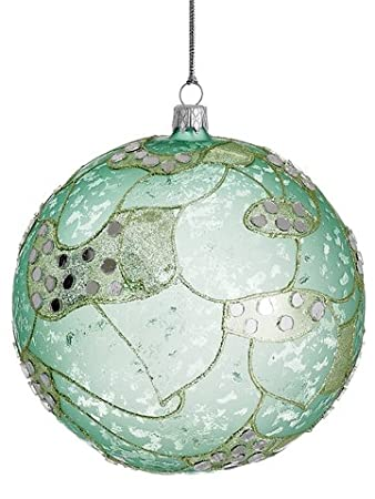Northern Lights Glass Ball Aqua Gold Christmas Ornament by Silk Decor