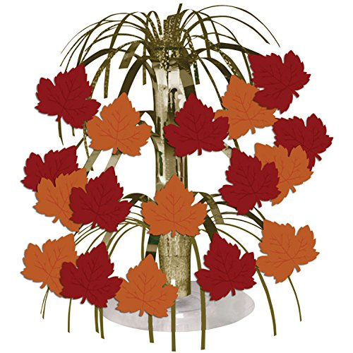 Creative Converting Thanksgiving Fall Leaves Metallic Foil Spray Centerpiece - 1