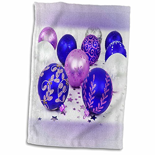 Yves Creations Christmas Decorations - Blue and Purple Christmas Baubles - 11x17 Towel (twl_36870_1)