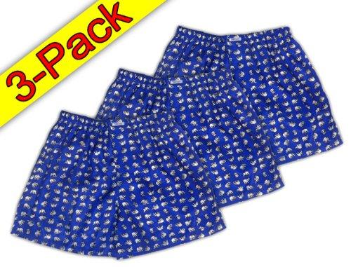 (XL) Blau Weiß 3er Pack Elefanten Boxershort Boxershorts Herren Unterwäsche Satin Glanz Boxer Short