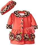 Bonnie Baby Baby-Girls Newborn Coral and Leopard Fleece