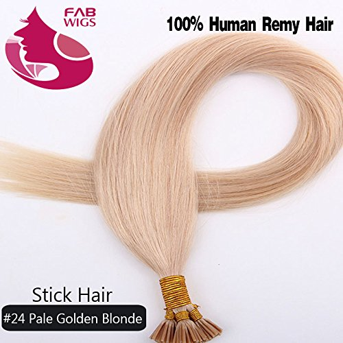 Fabwigs I Tip Stick Human Hair Extensions - 18 20 22 Inch 12 Colors 50g Set - Keratin Stick Fusion Remy Human Hair Extensions (18 Inch #24 Pale Gloden Blonde)