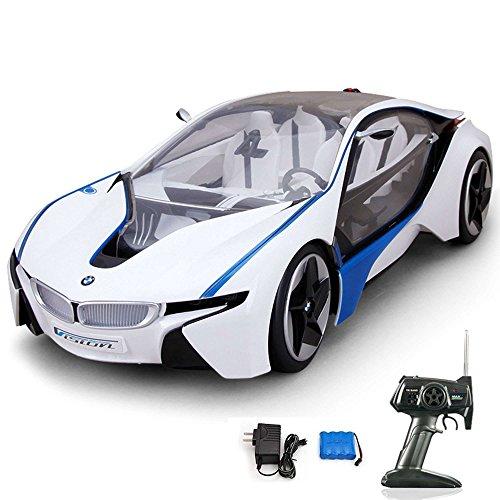 BMW i8 Vision Concept Car - RC ferngesteuertes Lizenz-Fahrzeug im Original-Design mit blaue LED Beleuchtung, Modell-Maßstab 1:14, Ready-to-Drive, Auto inkl. Fernsteuerung