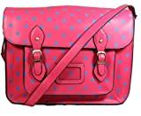 Sara Vintage Style Polka Dot School Satchel - Brink Pink with Bright Blue Dots -- SwankySwans