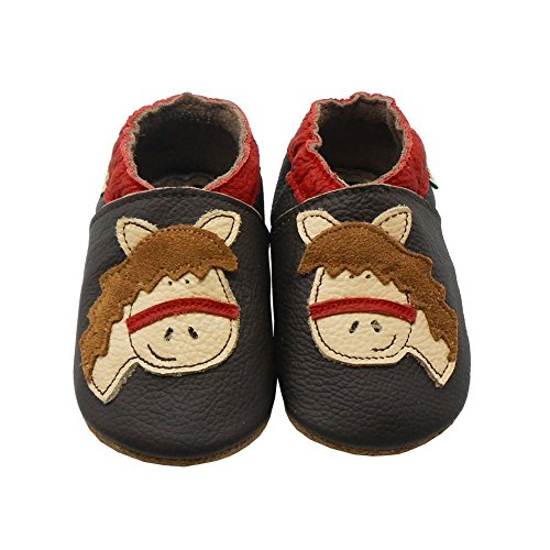 Sayoyo Baby Cute Horse Soft Soled Leather Baby Shoes Baby Moccasins(12-18 months ,Brown)
