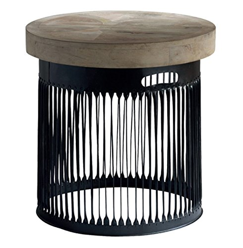 Knoll Large Industrial Loft Chunky Wood Round Side End Table