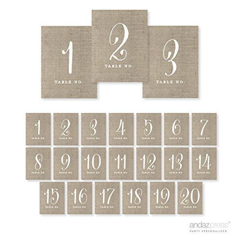 Andaz Press Table Numbers 1 - 20 on Perforated Paper, Chic Country Burlap Print, 4.25 x 5.5-inch Cardstock Sign, 1-Set, For Weddings, Anniversary (Burlap Number compare prices)