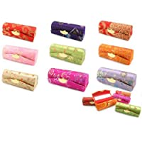 New Silk Classic Brocade Lipstick Holder Mirror Dressing Purse Case Jewelry Gift
